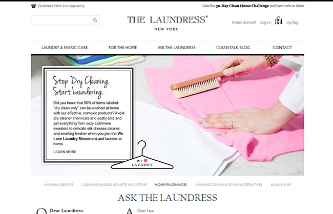 The Laundress Webdesign